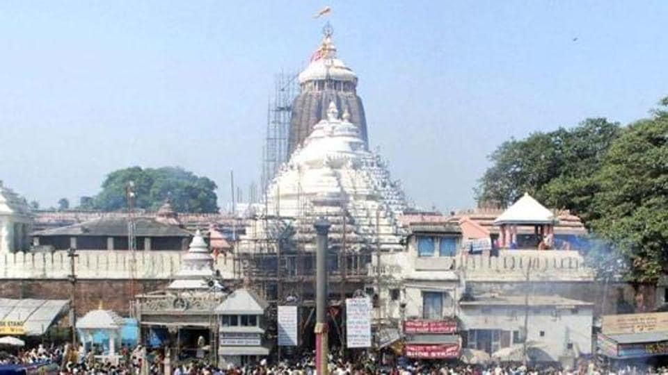 Devotees gathered at the Lord Jagannath temple in Puri.