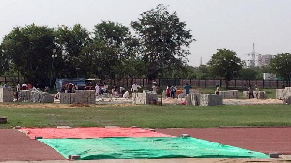 Preparations afoot for constructing a helipad at athletic ground of SMS stadium in Jaipur keeping in view the PM's rally on July 7.