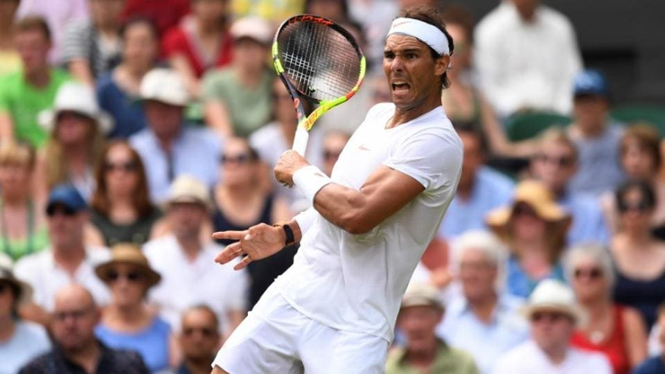 Spain's Rafael Nadal reacts during the second round match against Kazakhstan's Mikhail Kukushkin at Wimbledon on Thursday.