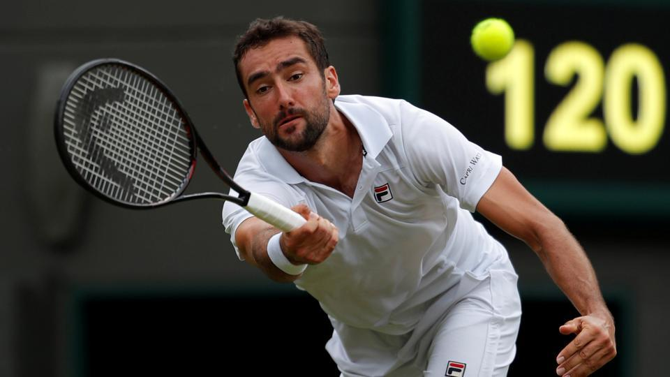 Croatia's Marin Cilic in action during his second round match against Argentina's Guido Pella at the All England Lawn Tennis and Croquet Club, London, Britain on July 5, 2018.