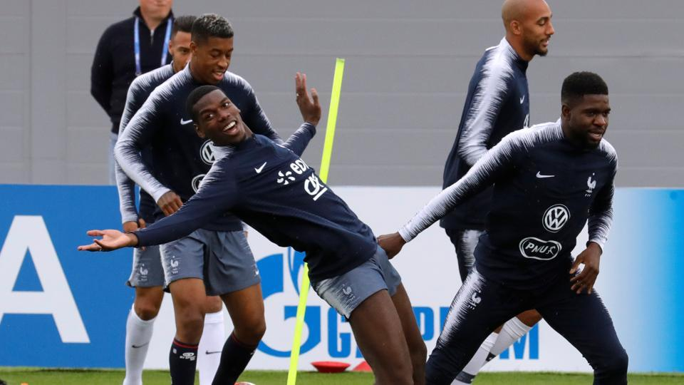 France's Paul Pogba during training. The 1998 champions beat Australia 2-1, Peru 1-0 and drew 0-0 against Denmark before defeating Argentina 4-3 in the Round o 16. (REUTERS)