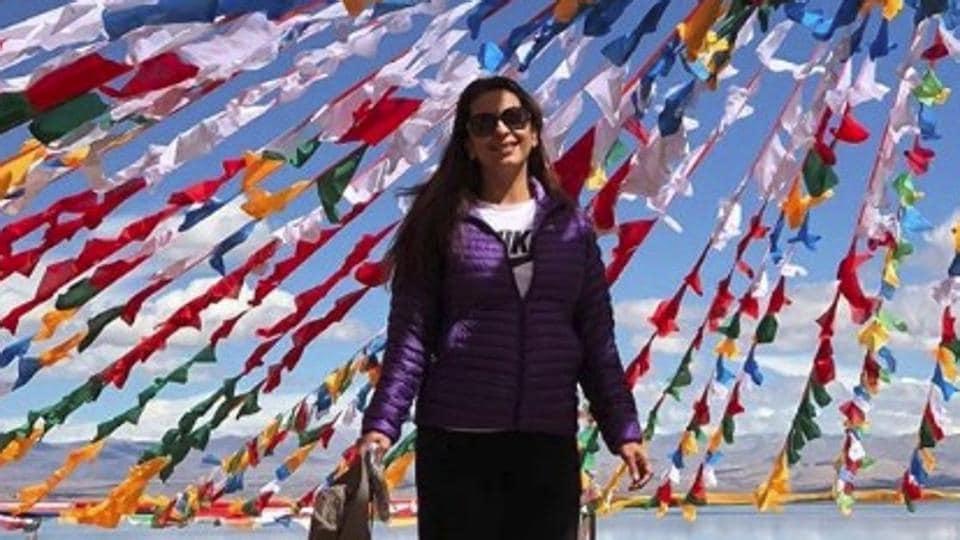 Juhi Chawla under the prayer flags at Lake Mansarovar