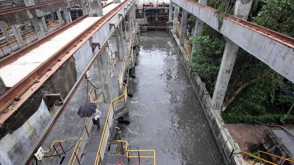 At the BMC sewage cleaning plant at Love Grove Complex, Worli