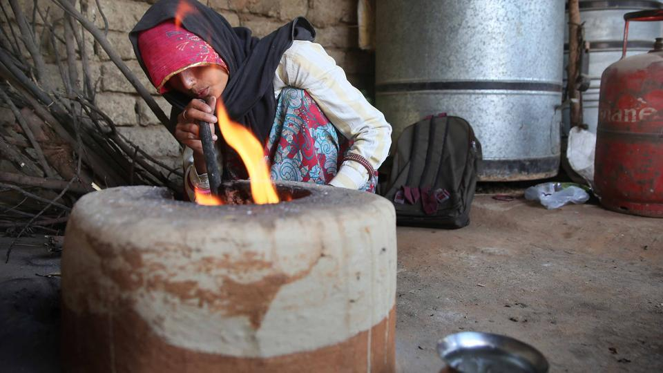 Despite getting an LPG connection under Pradhan Mantri Ujjwala Yojana in June 2016, Hansa, at Sitarampura village in Jaipur, is back to stoking the fire in her earthen stove for cooking as she could afford only one refill in two years.