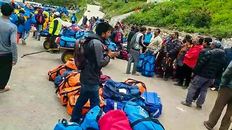 Indian pilgrims being evacuated from Simikot to Surkhet and Nepalganj, as authorities stepped up efforts to rescue those stranded there due to heavy rain while returning from the Kailash Mansarovar pilgrimage in Tibet in Simikot on Thursday.