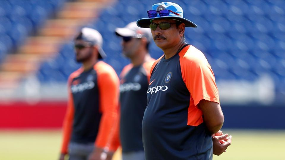 Indian cricket team coach Ravi Shastri during nets at the Sophia Gardens in Cardiff ahead of the second Twenty20 International against England.