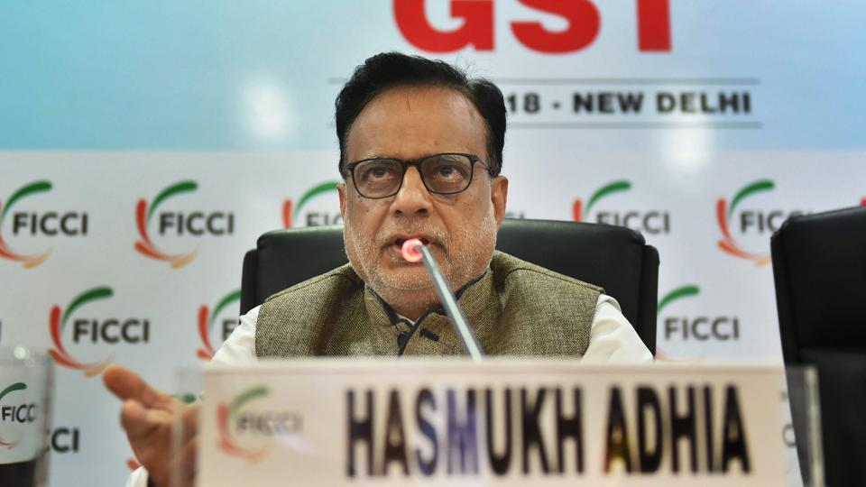 Hasmukh Adhia addresses during a session on 'One Year Journey Of GST' at FICCI office, in New Delhi.