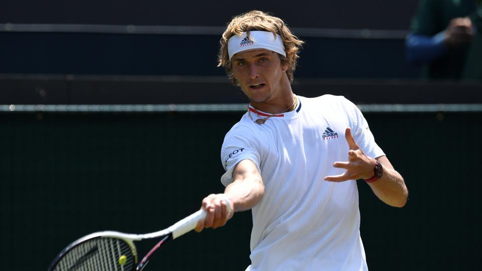 Germany's Alexander Zverev in action during the second round match against Taylor Fritz of the U.S. at the All England Lawn Tennis and Croquet Club, London, Britain on July 6, 2018.