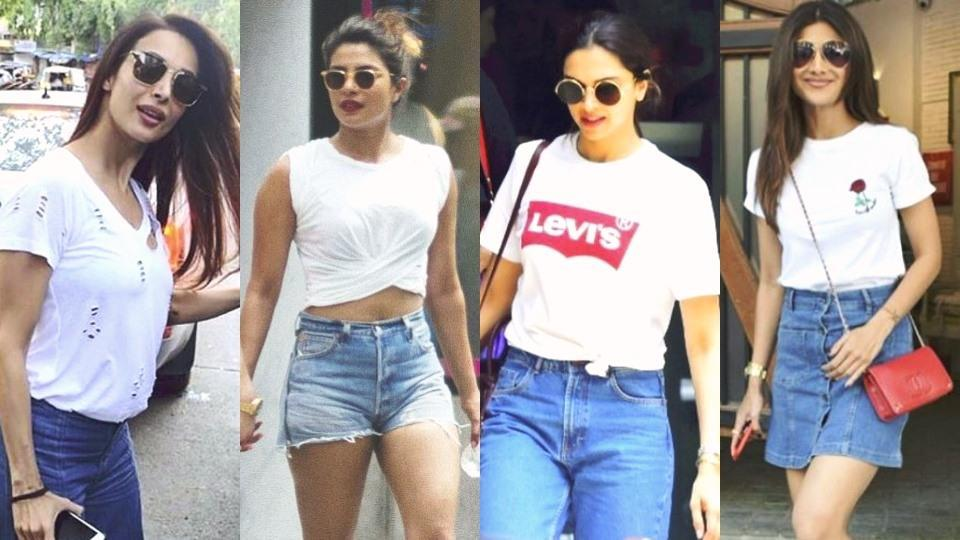 Malaika Arora, Priyanka Chopra, Deepika Padukone and Shilpa Shetty's white T-shirt outfits show how the summer staple can be dressed up or dressed down. (Instagram)