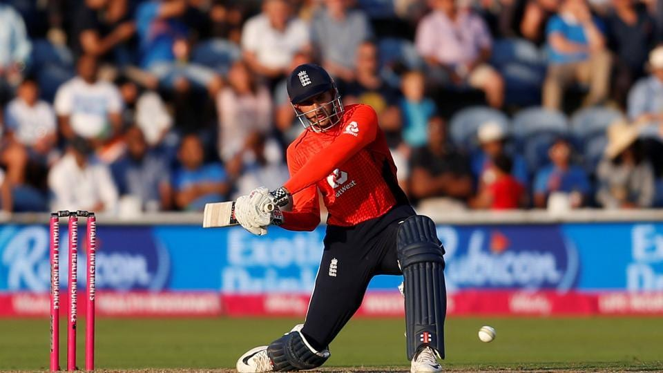 Alex Hales blasted an aggressive fifty as he guided England over the line with a five-wicket win. (REUTERS)