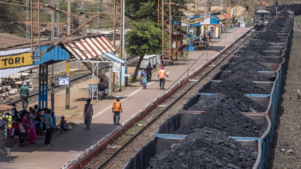 Freight wagons laden with coal sit at the Tori station on the Tori-Shivpur rail line. On completion of the complete stretch Tori-Shivpur-Kathotia rail line, around 100 MT of coal will be evacuated annually from North Karanpura Coalfield of Jharkhand. (Prashanth Vishwanathan / Bloomberg)