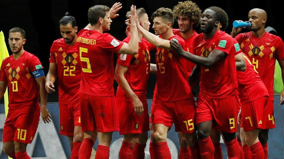 Belgium players celebrate after Kevin De Bruyne scores their second goal. (REUTERS)