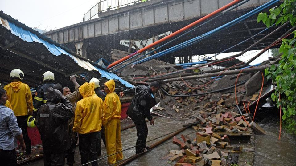 A section of a pedestrian bridge collapsed at Andheri railway station four days ago, killing  Asmita Katkar, 34, who succumbed to her injuries onSaturday. She was the 34th victim in a rain-related incident this year.