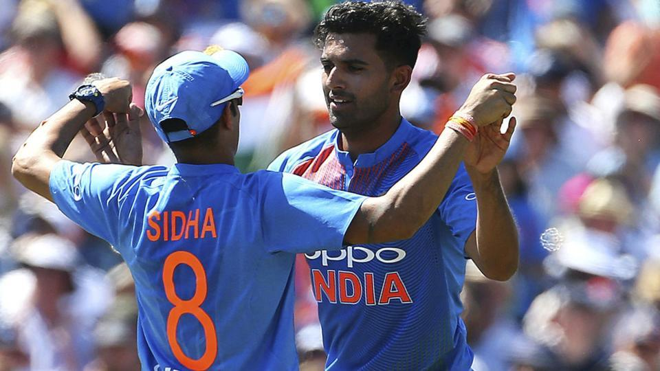India's Siddarth Kaul, left and Deepak Chahar celebrate taking the wicket of England's Jason Roy. (AP)