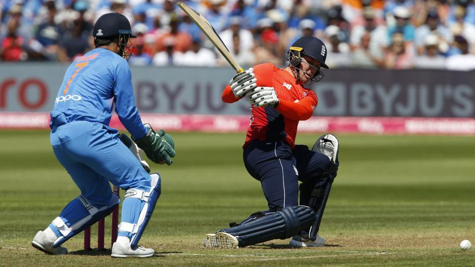 England's Jason Roy (67) hits a reverse sweep during the match against India. (AFP)