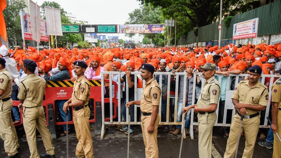 The entire police station staff was on duty to man the roads, with as many as 10,000 policemen being deployed on the ground. (Sanket Wankhade/HT PHOTO)
