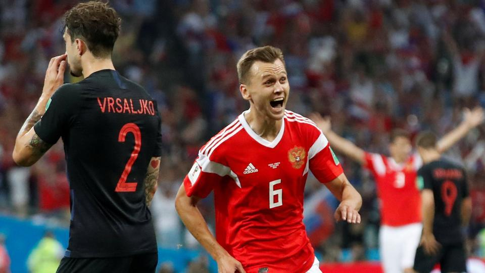 Russia's Denis Cheryshev celebrates scoring their first goal.  (REUTERS)