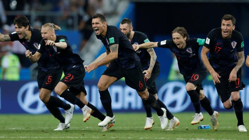 Croatia beat Russia 4-3 on penalties on Saturday to set up a FIFAWorld Cup 2018 semi-final against England after a dramatic match full of twists and turns.  (REUTERS)