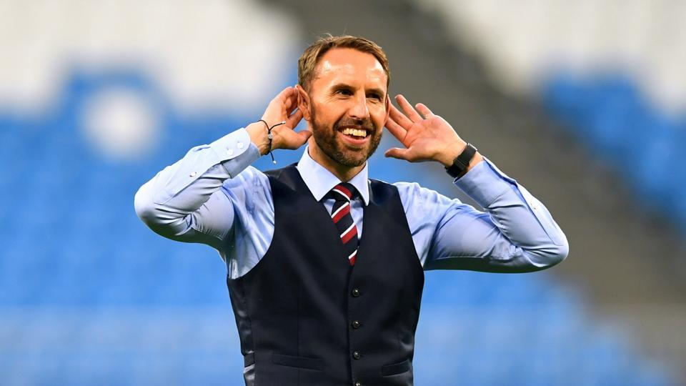 England manager Gareth Southgate salutes their fans after the win over Sweden in FIFA World Cup 2018.