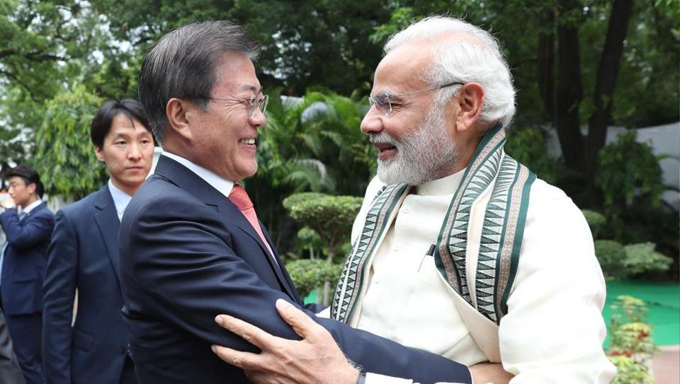 South Korean President Moon Jae-in with Prime Minister Narendra Modi in New Delhi on Monday.