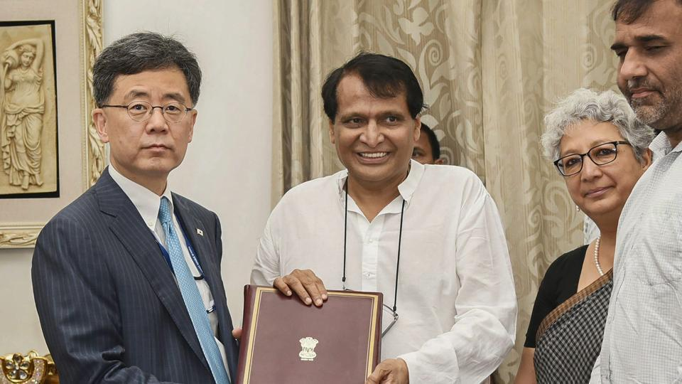Union Minister for Commerce & Industry and Civil Aviation Suresh Prabhakar Prabhu exchanges MoU documents with the South Korean Minister of Trade, Industry and Energy Kim Hyun-chong, in New Delhi. South Korean President Moon Jae-in on Sunday kicked-off his first state visit to India and said the two countries may have different cultures but share common values such as peace, harmony and unity in diversity. (PIB / PTI)