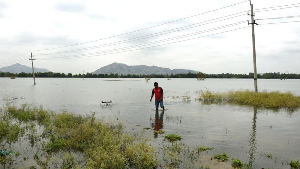 An overdependence on groundwater has caused depletion, with villagers stating that they now have to dig up to 1,000 feet to get water. Residents of Lakshmisagara and Udupanahalli villages said they were suspicious of this multi-crore scheme since its inception as they had seen how Bengaluru's Bellandur and Varthur Lakes had frothed because of pollution. (Arijit Sen / HT Photo)