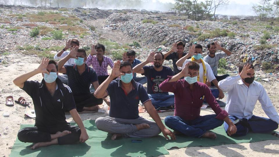 On June 21, on the occasion of the world yoga day, residents of the area had conducted yoga at the trenching ground wearing masks to highlight their plight.
