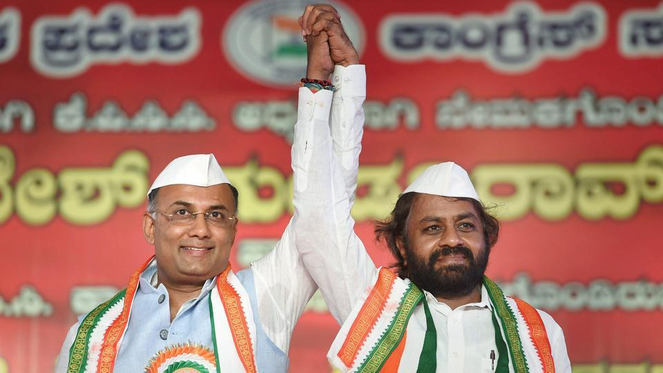 Newly appointed President of Karnataka Pradesh Congress Committee Dinesh Gundu Rao (L) with the newly-appointed working president Eshwar Khandare during a ceremony to take charge of the office, in Bengaluru. Gundu Rao is a five-time MLA from Gandhinagar constituency in Bengaluru. He succeeded former KPCC president G Parameshwara, who led the party in the state for eight years (Shailendra Bhojak / PTI)