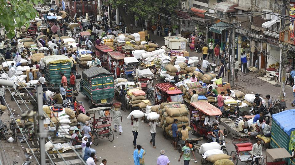 A view of Khari Baoli in New Delhi. The South Delhi Municipal Corporation along with the Delhi Traffic Police and the New Delhi Municipal Council had carried out one of the city's biggest anti-encroachment drives in May.