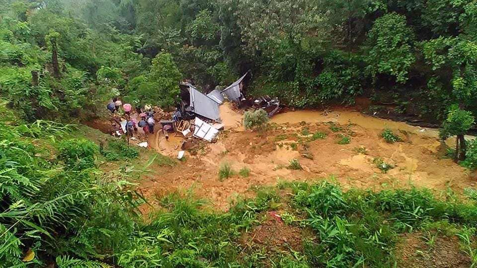 Eight children and a woman were killed in landslides triggered by heavy rain in three different places in Manipur's Tamenglong district early Wednesday, deputy commissioner Ravinder Singh said. The bodies of two children are yet to be recovered. (AFP)