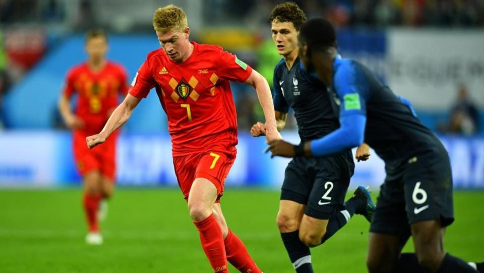Belgium's Kevin De Bruyne in action with France's Benjamin Pavard.  (REUTERS)