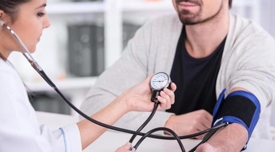 High blood pressure is above 140/90 mmHg. The higher number is called systolic blood pressure, the pressure in the blood vessels when the heart beats. The lower number is called diastolic blood pressure, the pressure when the heart is at rest.