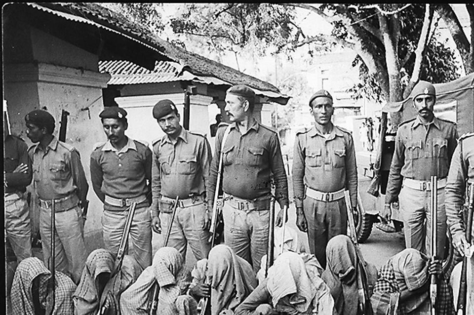 Naxalites arrested by police at Gangabigha in the Nalanda district of Bihar on 23 November, 1985.
