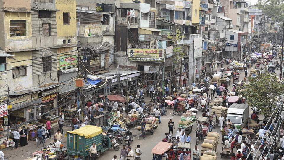 Illegal hawkers, vendors and rickshaw pullers occupy a major part of the road at Delhi's Khari Baoli on July 11, 2018.