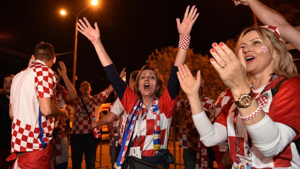 Loud cheers rang out after each goal, fans waved the red, white and blue national flag, and after the final whistle Croatian TV showed wild celebrations breaking out in towns and cities. (AFP)