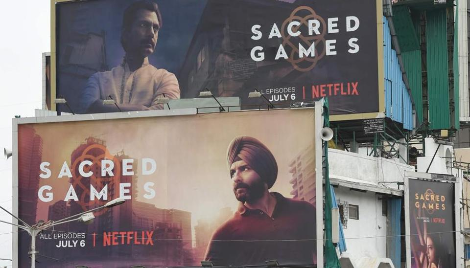 Large billboards of Netflix's 'Sacred Games' on display in Mumbai. The show is Netflix's first original Indian series which released on July 6.
