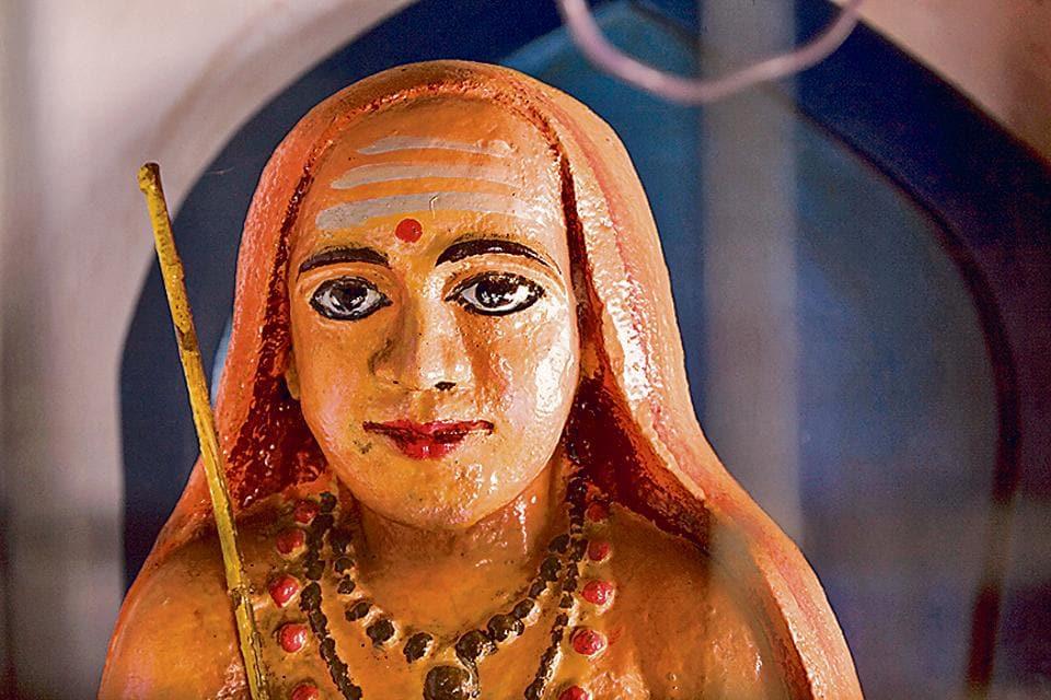 An Adi Sankara statue at the Vadakke Madham Brahmaswam in Thrissur, Kerala.