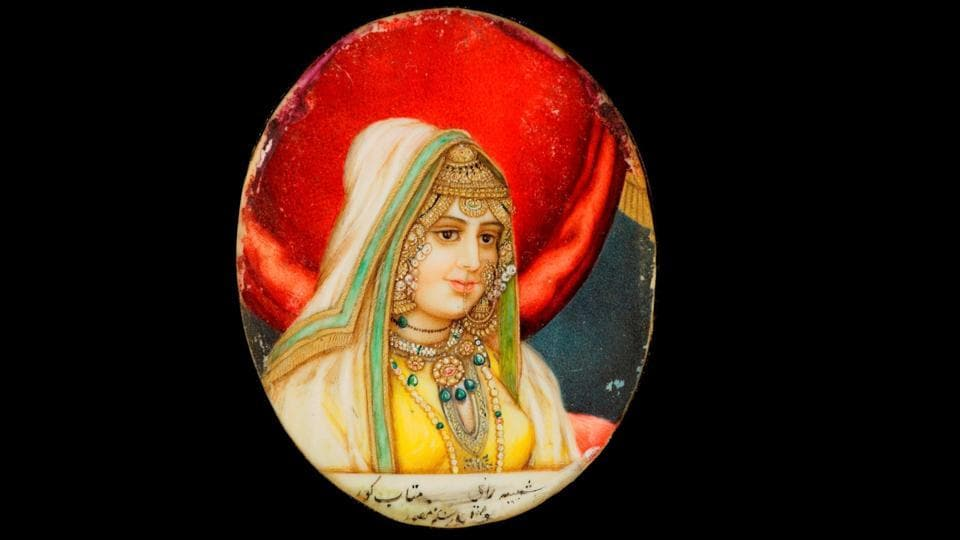 Rani Mahtab Kaur (1782–1813), the first wife of Maharaja Ranjit Singh, (gouache heightened with gold on ivory by Rattan Singh, Punjab or Delhi, circa 1810–30). She became Maharaja Ranjit Singh's first wife in 1796 in a marriage arranged by her mother, Rani Sada Kaur, a powerful military leader. Mahtab Kaur's son, Sher Singh, went on to sit on the throne at Lahore. (Toor collection)