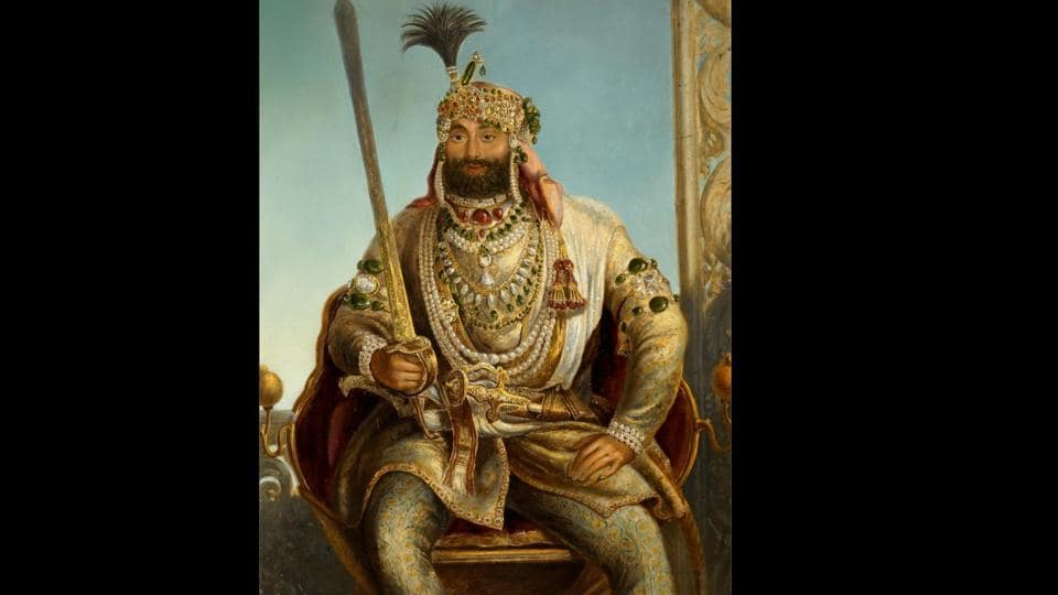 Maharaja Sher Singh wearing the Koh-i-Noor diamond (on the right arm) and Timur ruby (oil on panel by August Theodor Schoefft, circa 1841–42). In a dazzling display of splendour and opulence, this vivid portrait of the second son of Maharaja Ranjit Singh represents the Sikh Empire at its zenith. (Toor Collection)
