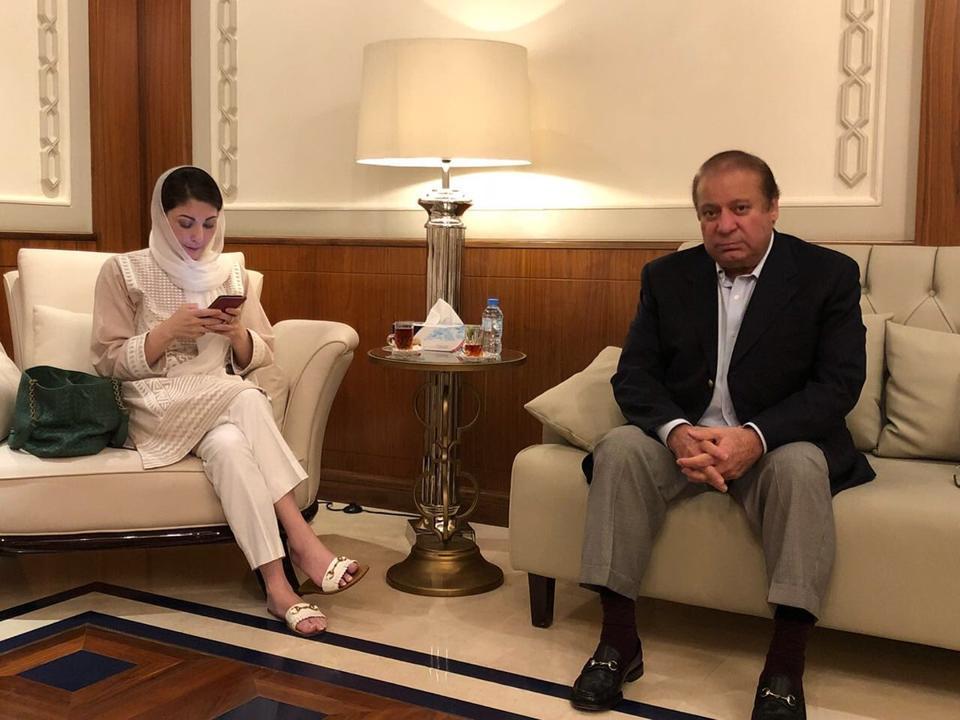 Nawaz Sharif with his daughter Maryam at Abu Dhabi airport.(ANI/Twitter)