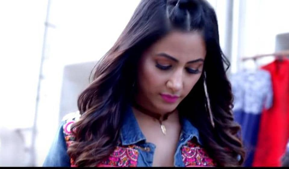 Hina Khan in a still from her first commercial music video, Bhasoodi.