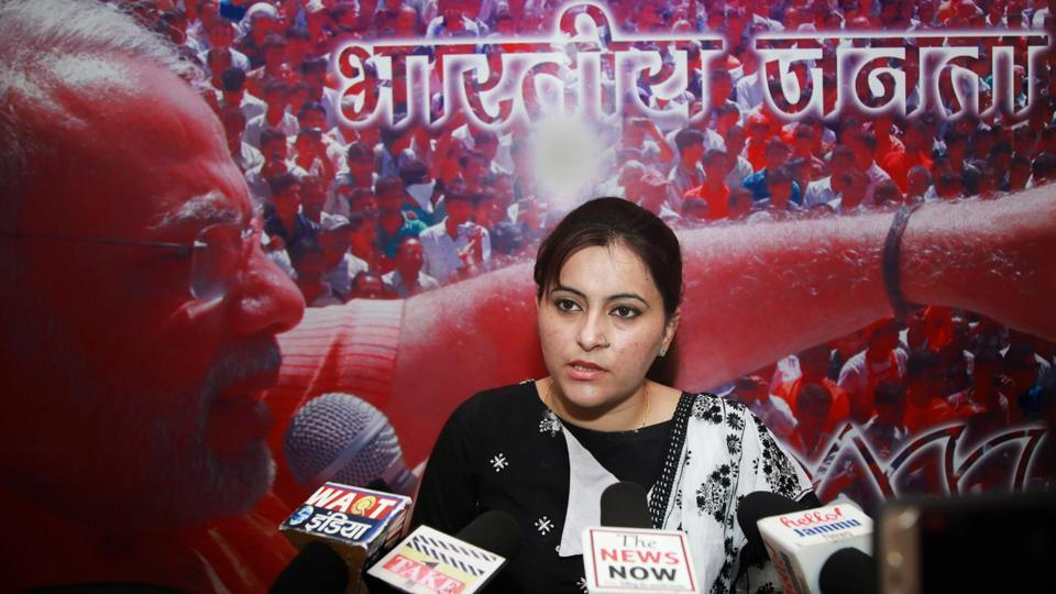 Monika Bhagat, wife of BJP MLA Gagan Bhagat addresses the media on the issue of allegedly abducting a college girl, in Jammu on Friday. On June 24, Rajinder Singh accused Bhagat of abducting his daughter from Desh Bhagat University, Punjab, where she was pursuing Bachelor of Ayurvedic Medicine and Surgery (BAMS) course, a charge denied by the girl as well as the politician who termed the allegation as an attempt to defame him. (PTI)