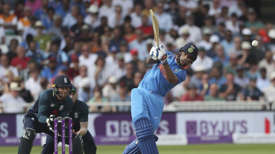 In reply, Shikhar Dhawan got India off to a fiery start, smashing 40 off 27 before falling to Moeen Ali in the eighth over.  (AP)
