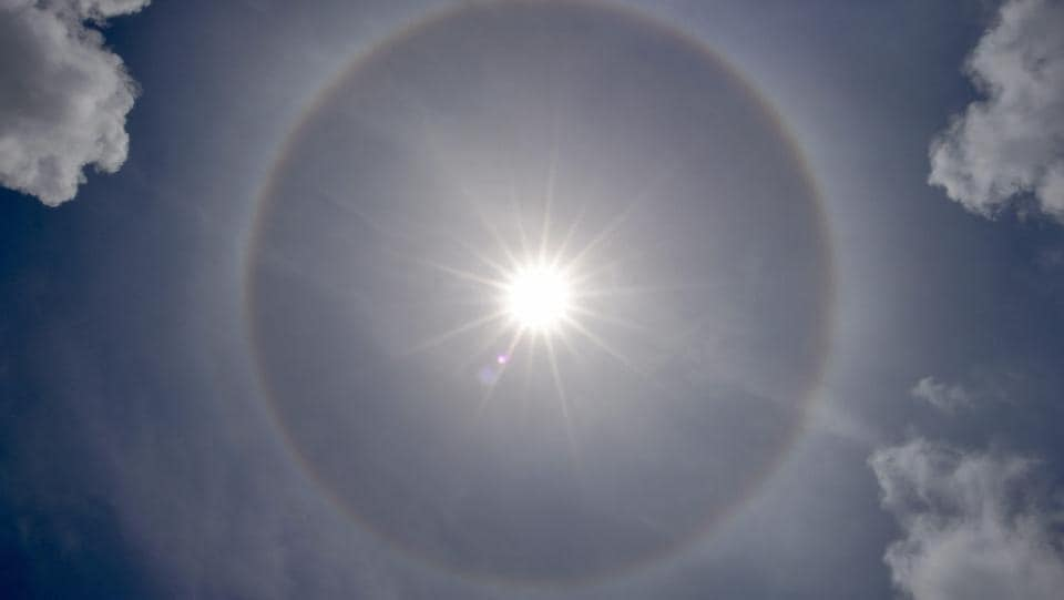 A halo appears around the sun in the sky, as seen from Kolkata on July 11, 2018. (Swapan Mahapatra / PTI)