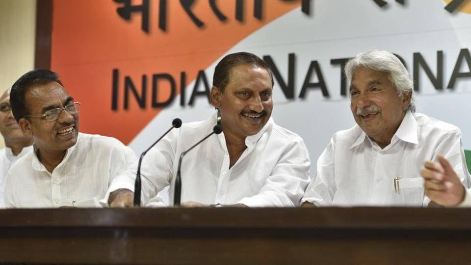 Former chief minister of united Andhra Pradesh N Kiran Kumar Reddy (C) rejoined Congress on Friday after a meeting with party president Rahul Gandhi in New Delhi. Reddy had resigned from the party in 2014 in protest against the bifurcation of the state. While conveying his inclination to make a comeback, Mr Reddy has reportedly sought a key position in the AICC, befitting his stature. (Sanchit Khanna/HT PHOTO)