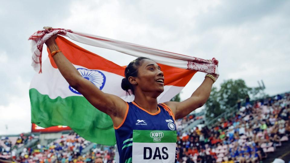 Hima Das celebrates her victory in women's 400 metre race at the 2018 IAAF World U20 Championships in Tampere, Finland on July 12, 2018. (AP)
