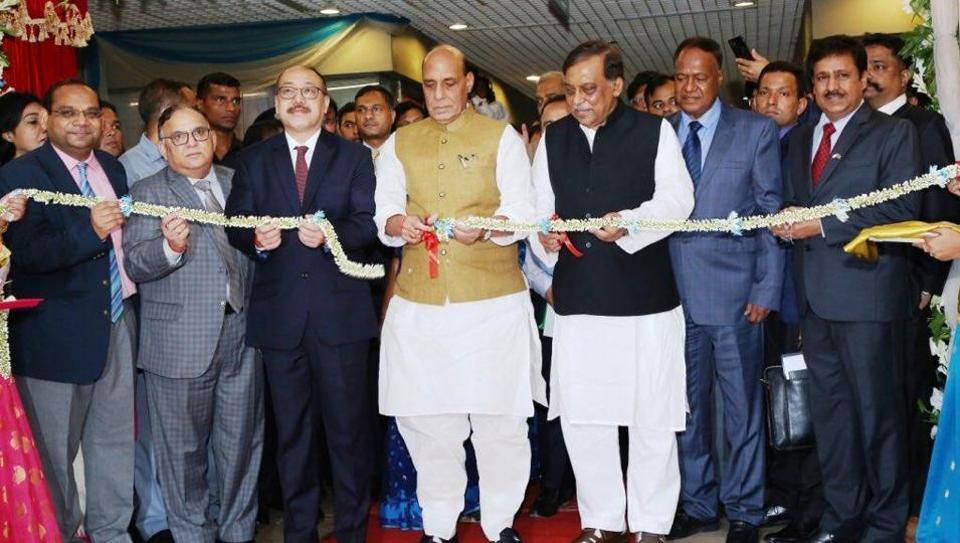 Home Minister Rajnath Singh inaugurates the Indian Visa Application Centre (IVAC) at Dhaka on July 14.