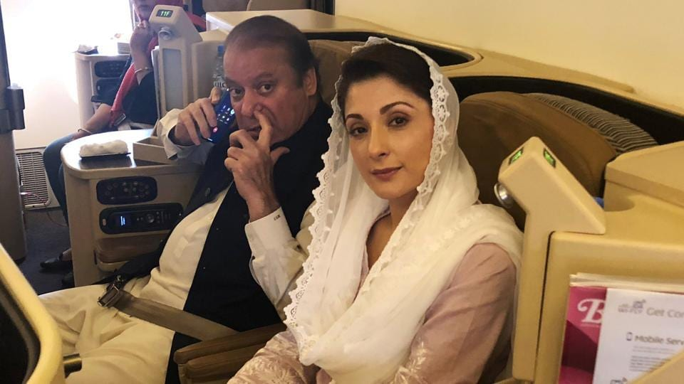 Back in Pakistan to face jail sentence, Nawaz Sharif and daughter