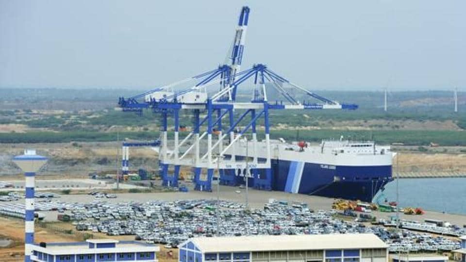 A general view of Sri Lanka's deep sea harbour port facilities at Hambantota.