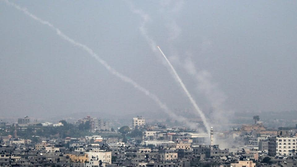 14 2018 shows Palestinian rockets being fired from Gaza City towards Israel. Israel's military said it had launched air strikes targeting Hamas in the Gaza Strip on July 14 as rockets and mortars were lobbed into southern Israel